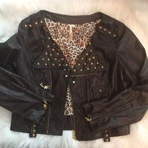 Jackets & Blazers - Chocolate brown/ gold studded leather like jacket✨